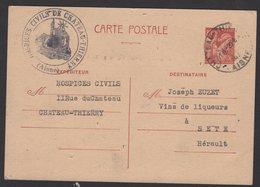 AISNE: 80c IRIS Carte Interzone Normale Utilisée Comme Carte Commerciale Oblt CHATEAU THIERRY > SETE - Guerre De 1939-45