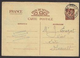 SEINE ET OISE: 0,90c IRIS Carte Interzone Normale Utilisée Comme Carte Commerciale Oblt A4 LONGJUMEAU > SETE - Guerre De 1939-45