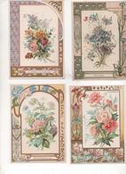 5 Chromos Fleurs Hortensias, Roses, Pivoines, Bleuets, Violettes - Vieux Papiers