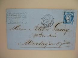 Cérès N° 60 Variété Sur Lettre De    Bordeaux    Voir Scan - 1871-1875 Cérès