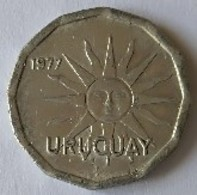 URUGUAY - 1 Centesimo 1977- Soleil - - Uruguay