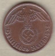 2 Reichspfennig 1938 J (HAMBOURG) Bronze - [ 4] 1933-1945 : Troisième Reich