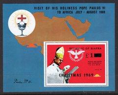 NIGERIA BIAFRA - 1969 POPE'S VISIT MS O/P CHRISTMAS 1969 & £1 FINE MNH ** SG SEE NOTE BELOW SG 39-42 - Nigeria (1961-...)
