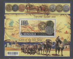 MONGOLIA, 2017, MNH, COINS OF THE SILK ROAD, CAMELS, MAPS, S/SHEET - Coins