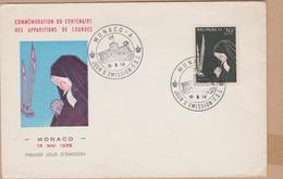 ENVELOPPE TIMBRE 1958 MONACO A APPARITIONS DE LOURDES - FDC