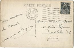 CARTE POSTALE 1931 AVEC TIMBRE FEMME FACHI ET CACHET MECANIQUE NANTES IMPRIMES P.P. - Poststempel (Briefe)