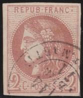 France  .   Yvert   .     40    Report 2 ?   (2 Scans)  .       O         .       Oblitéré - 1870 Emission De Bordeaux