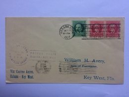 CUBA 1927 Air Mail Cover Havana To Key West USA - Various Cachets - Cuba