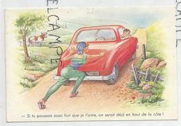 """Dame Pousse La Voiture En Panne:"""" Si Tu Poussais Aussi Fort Que Je T'aime ..."""". Vache - Humour"""