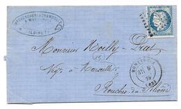 MONTARGIS MARSEILLE 1875 - N° 60 GC 2426 SUR LETTRE - ENTETE VINS EAUX DE VIE LIQUEURS PROVENCHERE CHAMBOLLE NOILLY PRAT - Marcofilia (sobres)
