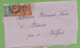 Lettre Affranchie Avec Semeuse 15c Lignée Et 2*5c Camée De Besançon à Belfort 28/01/23 - 1921-1960: Période Moderne