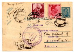Tarjeta Postal De Rumania Con Matasellos De Censura Militar De Guipuzcoa - 1918-1948 Ferdinand, Carol II. & Mihai I.