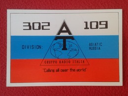 POSTAL TYPE POST CARD QSL RADIOAFICIONADOS RADIO AMATEUR GRUPPO AT ITALIA ASIATIC RUSSIA RUSIA BANDERA FLAG VER FOTOS - Tarjetas QSL