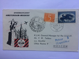 NETHERLANDS 1958 First Flight Cover Amsterdam To Moscow KLM - Covers & Documents