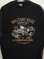 T SHIRT Noir US MILITARY BASE AMERICAN LEGEND 1942 JEEP Tailles S à XXL Tee Militaria - Vehicles