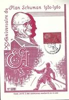 9.5.1960  -  PLAN SCHUMAN  1950-1960  Dim. 140x200 Mm - Cartes Maximum