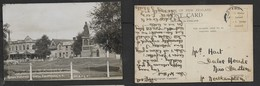 New Zealand, Queen Victoria's Statue, Christchurch,  Cook & Ross, Chemists, --Leaven & Co Hay & Straw Dealer - New Zealand