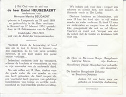 Emiel Heugebaert (1888-1974) ~ Oudstrijder (1914-1918) - Devotion Images