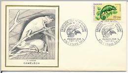 FRANCE-REUNION - Enveloppe FDC Thiaude - Caméléon - 7/11/1971 - Covers & Documents