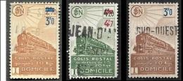 COLIS POSTAUX  1943 -  YT 204 - 206 - 208  - Livraison à Domicile - Oblitérés - Cote 10.50e - Colis Postaux