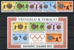 TRINIDAD & TOBAGO (1972) - OLYMPIC GRAMES 1972, Munich, Medals - Set + Souvenir Sheet - Trinidad Y Tobago (1962-...)