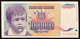 YUGOSLAVIA JUGOSLAVIA  1 MILLION 1000000 1.000.000 DINARA 1993 AA FDS / UNC Lotto.160 - Jugoslavia