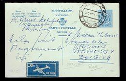 """CP 168 II !!!!! REPONSE !!!!! Karachi ( Pakistan ) 25 NOV 68 => Bruxelles Etiquette """" Par Avion """" Pas Courant - Postwaardestukken"""
