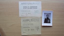 ROMA FORO MUSSOLINI ACCADEMIA COLLEGIO GIL SCUOLA DI EQUITAZIONE FOTO PICCOLA E 2 BUONI PER UNA LEZIONE - Altri