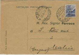 """CHIARI(BRESCIA)-RICEVUTA DI NOTIFICAZIONE MATRIMONIO,1950,PER PARROCCHIA DI """"S.VITTORE M.""""CALCIO(BERGAMO), - Nozze"""