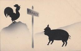 CPA Militaria Militaire Patriotique Cochon Porc Pig Anti-Kaïser Anti Guillaume II  Ombre Chinoise Illustrateur (2 Scans) - Patrióticos