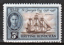 British Honduras 1949 Single 5c Stamp Celebrating 150th Anniversary Of The Battle Of St George's Cay. - Britisch-Honduras (...-1970)