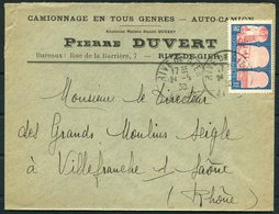 1930 Algeria, Duvert Transport, Rive De Gier Cover - Des Grands Moulins Seigle Flour Mill, Villfranche Saône France - Algeria (1924-1962)