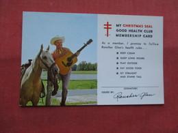 ---Blank Back  -------Man With Horse & Guitar   My Christmas Seal Good Health Membership Card   --ref    3573 - Caballos
