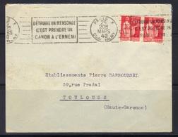 """Paris X Quai Valmy : Paix 50 C X 2, RBV A10114 """"Détruire Un Mensonge..."""", 1940. - Marcofilia (sobres)"""