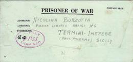 BIGLIETTO PRIGIONIERI USA POW CAMP 101 ORANO ALGERIA 1944 TERMINI IMERESE - 1900-44 Vittorio Emanuele III