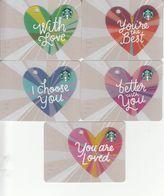 5 X Germany Starbucks Card Mini Heart Valentine 2017  2017-6147 - Gift Cards