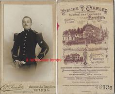 CDV Télégraphiste ? Du 5e R-photo Charles Rue Des Templiers à Epinal-dos De CDV Dessin De L'atelier Du Photographe - War, Military