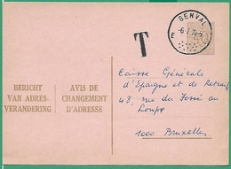 ! - Belgique - Carte Changement Adresse - Taxée - Date Envoi 06-07-1970 De Chastre Vers Bruxelles - Avis Changement Adresse