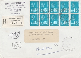 1663x10 - 0.45f. MARIANNE BEQUET Pour Affranchir LR + AR De TOURS HALLES Du 13.6.73 - 1971-76 Marianne Of Béquet