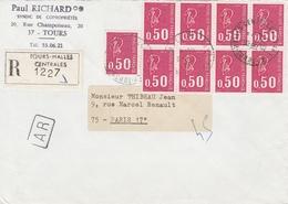 1664x9 - 0.50F.. MARIANNE BEQUET Pour Affranchir LR + AR De TOURS HALLES Du 18/5/75 - 1971-76 Marianne Of Béquet
