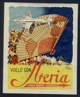 España *Iberia* Ilustrador *Angel Esteban* Meds: 84 X 103 Mms. Nueva Con Cola Original. - Baggage Labels & Tags