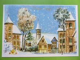 Carte Postale Bonne Année - Le Village Et Son église Sous La Neige - Anno Nuovo