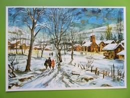 Carte Postale Bonne Année - Paysage Et Promeneurs Sous La Neige - Nouvel An