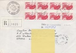 2379 X 8 - 2.20 ROUGE LIBERTÉ De ROULETTE Avec 3 BANDES PHOSPH. Bien Marquées - Pour LR De TOULOUSE 14.10.88 - 1982-90 Liberty Of Gandon