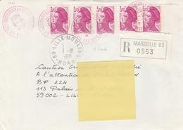 2486a X 5 - 3.70f LIBERTÉ 1 BANDE Pour Affranchir LR De MARSEILLE Du 30.9.88 - OBLIT. ROUGE - 1982-90 Liberty Of Gandon