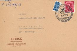 Posthorn 20 Pfg Singen Hohentwiel Baden Bundesmusikfest 1953 Frick Güter-Fernverkehr Berlin Steuermarke - BRD