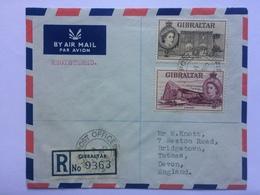 GIBRALTAR 1965 Air Mail Registered Cover To Devon England - Gibraltar