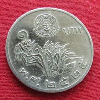 Thailand 1 Baht 1982 / 2525 Y# 157 Fao F.a.o. Lt 204  Tailandia Thailande - Thaïlande