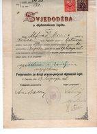 1928 YUGOSLAVIA, CROATIA, ZAGREB UNIVERSITY, FACULTY OF LAW, SECOND DIPLOMA EXAM, SVJEDODZBA, 2 REVENUE STAMPS - Diploma & School Reports