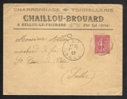 Orne-Enveloppe Charronnage Tonnellerie Bellou Le Trichard Avec Cachet De Igé - Marcophilie (Lettres)
